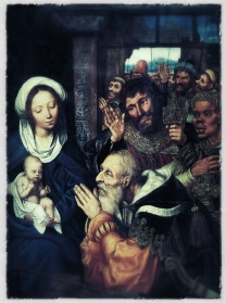 The Adoration of the Magi (1526), a painting by Quinten Metsys.  I turned Quinten over in his grave by applying some Photoshop filters and blurs over it.